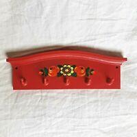 Vtg Bright Red Plastic Key Hook Holder Kitchen Utensil Wall Hanger--Flower Deco