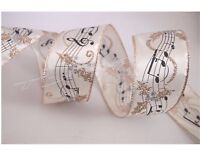 "5 Yards Ivory Gold Sheet Music Note 2 1/2"" Wired Ribbon Christmas 5 yds"