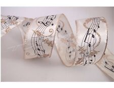 """5 Yards Ivory Gold Sheet Music Note 2 1/2"""" Wired Ribbon Christmas 5 yds"""