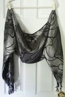 COCOON SHAWL SHRUG METALLIC SILVER BLACK  ONE SIZE FITS MOST