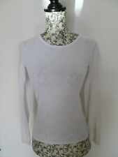 NEW LOOK - WHITE 100% COTTON LONG SLEEVED C/NECK T-Shirt Size 8