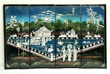 Chinese Vietnamese 4 Panels Lacquer Painting Mother Of Pearl Wood Wall Art Asian