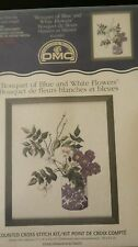 New DMC Counted Cross Stitch Kit Bouquet of Blue and White Flowers Expert