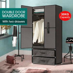 Large Portable Clothes Closet Wardrobe Storage Cabinet Organiser Unit with Shelf