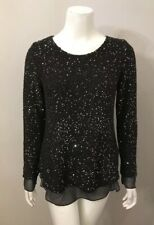 Soft Surroundings Black Silver Sequin Sweater Size XS