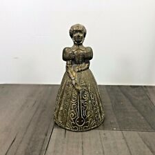 AUTHENTIC VINTAGE BRASS VICTORIAN WOMAN BELL CLANGER ORNAMENT FIRESIDE RARE