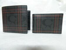 Coach 3 In 1 Signature Canvas Wallet Mens  Red & Black Plaid F88071