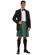 Adult Men's St. Patricks Day Scotsman Green Plaid Kilt Skirt Costume Large