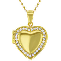 18k Gold Plated Clear CZ Heart Shaped Locket Pendant Necklace Girls Teens 19""