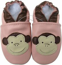 carozoo monkey pink 18-24m soft sole leather baby shoes