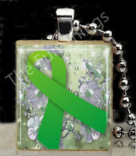 Green Ribbon Scrabble Tile Pendant Jewelry Muscular Dystrophy Awareness Support