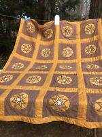 "Rare Handmade amish Folded Star Quilt 68""x82"" 12/1962 Signed"