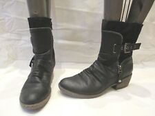 RIEKER BLACK SYNTHETIC ZIP UP ANKLE BOOTS UK 4 EU 37 (1265)