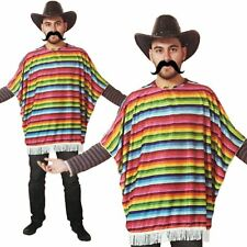 Wild West Mexican Bandit Rainbow Poncho Mens Fancy Dress Stag Party Fun Costume