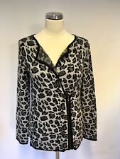 COUNTRY CASUALS GREY & BLACK PRINT CARDIGAN SIZE S PETITE