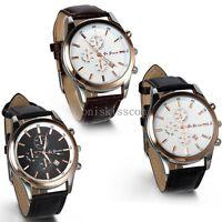 Leather Band Round Quartz Analog Elegant Classic Business Men's Wrist Watch