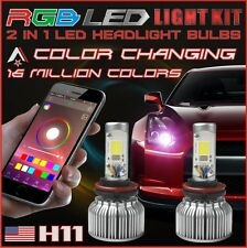 H11 2 in 1 LED Headlight Bulbs + RGB Demon Eye Bluetooth Control for Car/Truck