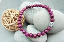 Womens Pink Tigers Eye Gemstones with Hematite Buddha Bracelet Reiki Chakra