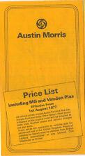 Austin Morris MG Vanden Plas UK Price List 1977 Mini Maxi Allegro Marina Taxi