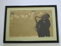 ANTIQUE LITHOGRAPH WPA ERA NY  BLACK AMERICANA JAZZ BAND MUSIC ART DECO BAR CLUB