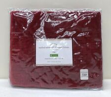 NEW Pottery Barn Washed Velvet Silk Blend Diamond KING Sham~Ruby Red