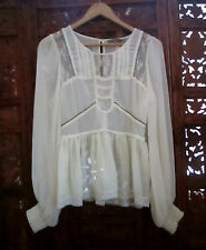 Lipsy London sz 8 Cream Soft Lace Trim Blouse
