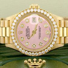 Rolex President Datejust Ladies Gold 26mm Watch Orchid Pink Dial & Diamond Bezel