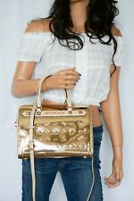 MICHAEL KORS KAYA DUFFLE MIRROR METALLIC SATCHEL SHOULDER BAG ROSE GOLD