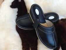 New Lady's Black Wedge  Leather Slippers Mule Clogs Size 3 4 5 6 7 8 Sandals