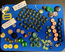"""New listing 100+ Vintage Buttons Sew-on 1/2"""" to 1"""" Unique shapes Green Orange Yellow Logos"""