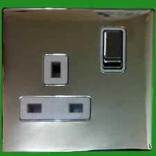 1 Gang, Chrome, Screwless, Switched, 13A Single Mains UK 3 pin Wall Socket