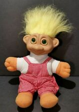 1992 Soma Glo Troll Doll Green Light Up Eyes 11 Inches Tall Yellow Hair