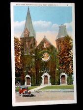 c1915 Port Jarvis, NY Deer Park Reform. Church Old Car, Vintage WB Postcard