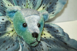 "Tie DyeTEDDY 2"" BEAR HEAD on  6"" Blue TIGER Lily STICK BACK Lapel  PIN BROOCH"