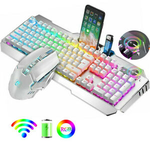 Wireless Rechargeable Gaming Keyboard and Mouse Set USB RGB Backlit Mechanical
