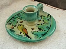 STUDIO WARE CANDLE HOLDER WITH A BIRD PATTERN AND GREEN SHRUBS  JA ON BASE