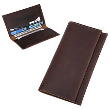 Long Real Leather Wallet Passport Cash Card Ticket Coin Holder Cover Case Purse