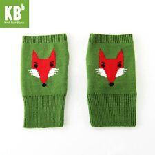 Knit BonBons Green Fox-Design Winter Soft Cozy Knitted Fingerless Gloves