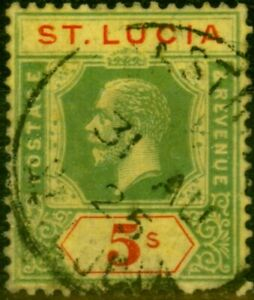 St Lucia 1923 5s Green & Red-Pale Yellow SG105 Fine Used
