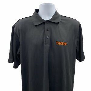 The Timken Company Men's Polo Work Shirt Size Large Black Short Sleeve