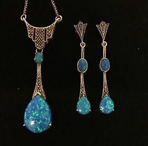 Art Deco style Blue Opal Marcasite Art Deco Pear drop Necklace & Earrings Set BN