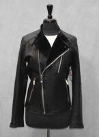 G0 NEW CALVIN KLEIN Black Leather Velvet Lining Asymmetric Zip Moto Jacket Sz XS