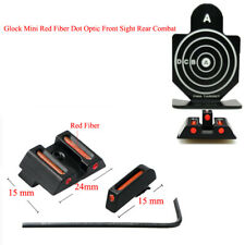 Mini Fiber Optic Front Sight Rear Combat Red Dot Fiber Sight for Standard Glock