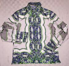 $800 Etro Women's Jacquard Blouse Silk green blue paisley floral Italy 44 / US 8