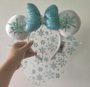 2021 Disney Parks Blue White Sparkle Elsa Minnie Mouse Ears Headband