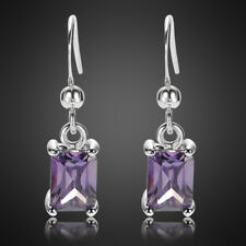 Plated Gp Dangle Drop Gift Earring Fashion Lady Purple Amethyst 18K White Gold