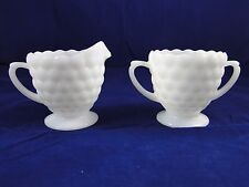VTG MILK GLASS SUGAR AND CREAMER SET / PAIR BUBBLE PEDESTAL RUFFLE EDGE