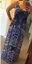 NEW Express Paisley Maxi Long Summer Dress. Blue. Abstract. Medium. Sheer