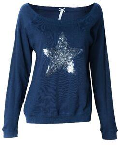 Louis & Louisa Sweaty/Homewear Dunkelblau Langarm L mit Paillettenstern SALE %%%