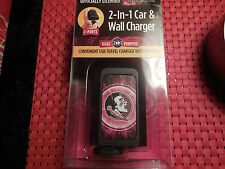 Florida State Seminoles 2 N 1 CAR & WALL CHARGER 2 PORTS OFFICIALLY LICENSED NEW